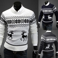 Free Shipping New Fashion 2013 Winter Korean Long Sleeve Mens Sweaters And Pullovers O-neck Onta Christmas Designer Sweater