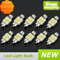 Free shipping 6 LED White Car Dome Festoon Interior Light Bulbs Auto Car Festoon LED Licence Plate Dome Roof Car Light 31mm