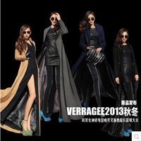 13 autumn and winter fashion slim placketing ultra long paragraph wool trench coat outerwear