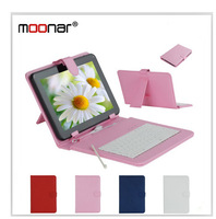 Colourful Micro USB Keyboard Faux Leather Case With Stylus Pen For 9 inch Tablet PC LCA0050