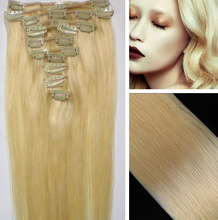 """Bleach Blonde 14""""-26""""/7PCS Remy Real 100% Straight Human Hair Brazilian Extension Clip Weft Weave Set Free Shipping(China (Mainland))"""