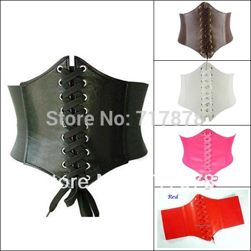 Brand New PU Leather Womens Ladies Wrap around Tie Corset Cinch Waist Wide Belt Free shipping(China (Mainland))