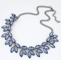 Christmas  wholesale cheap Fashion high quality vintage blue crystal leaf choker necklace free shipping over $15 mixed order