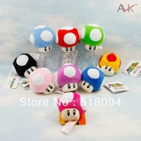 "10pcs/lot Free Shipping Super Mario Bros Mushroom Keychain Plush Toy Soft Stuffed Doll 2.5""5CM SMPD177"