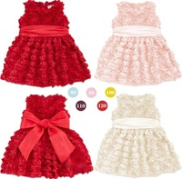 Gorgeous girls wedding dress/3 colors rosette princess dress/2014 summer new arrival