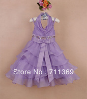 Free shipping wholesale HIGHT QUALITY purple big bow and embroidered sequin child bridesmaid dress gril princess dress 3-8T