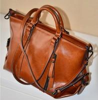 2014 new Women Leather Handbag Genuine Leather Handbag Wax Oil Shoulder Bag Vintage Restore ancient ways Women Messenger Bags