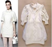 2014 Autumn and winter women's fashion sweater dress, princess lace stitching dress ,girl's Silk organza sweater dress