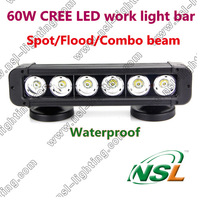 Free Shipping 3pcs/lot 11'' Spot/Flood/Combo IP68 5100LM 60W CREE LED work light bar 4X4,Marine,Truck offroad driving fog light