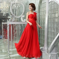 Bride and bridesmaids one shoulder long formal dress bride evening dress wedding design long evening dress costume