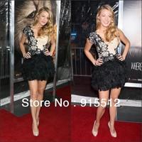 Blake Lively Sexy One Shoulder  Mini Celebrity Dresses Black Appliques Backless Cocktail Dress