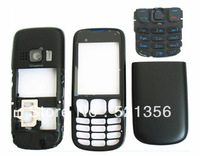 Black 6303 replacements faceplate keypad side buttons for Nokia 6303 cell phone  housing case with logo