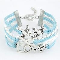 Min.Order $10 (Mix order ) New Arrivals Mix Infinity love birds Leather braid Bracelet  charm bracelet set