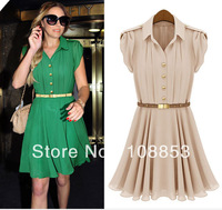 Plus Size S-XL Turn-Down Collar Single Breasted Slim Cute Chiffon Pleated Dress Women Sleeveless Caual Summer Dresses CMC-0395