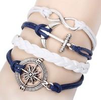 Min.Order $10 (Mix order ) New Arrivals Mix Infinity Anchor Rudder Leather Nautical Friendship Bracelet  charm bracelet set