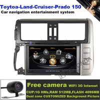 S100 A8 Car DVD Player GPS 3G WIFI Navi Radio RDS For 2010-2012 Toytoa Land Cruiser Prado 150 Free camera free shipping