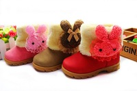 Child winter female boots baby snow boots shoes thermal cotton-padded shoes princess cotton boots 1 - 3 years old small children
