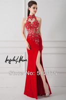 2014 Best Seller!!! Perfect High Neck Chiffon Split Backless Sexy Mermaid Prom Dresses Customer Made All sizes