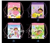 factory price Free shipping 20pcs/lot DORA Cartoon Bag-woven fabrics Kid's School bag 34X27CM,party gift-ft000