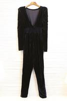 Women's fashion autumn jumpsuit trousers slim gold velvet pants pencil pants jumpsuit d11-06
