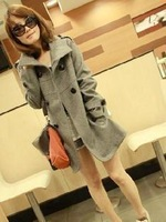 2013 Free Shipping Wholesale Autumn and Winter KOREAN OCCIDENT Ladies Double-Breasted Long Sections Wind Coat