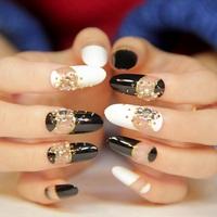 New 2014 Japanese Style long design fake nail,fashion rock and roll 3d false nails, 24 pcs, free shipping