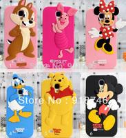 Stylish 3D Silicone Piglet Chipmunk Donald Duck Winnie Bear Mickey Minnie Case For Samsung Galaxy S3 I9300 S4 I9500 Mickey Cover
