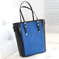 2013 bag color block crocodile pattern genuine leather women's handbag big bag leather bag fashion handbag shoulder bag