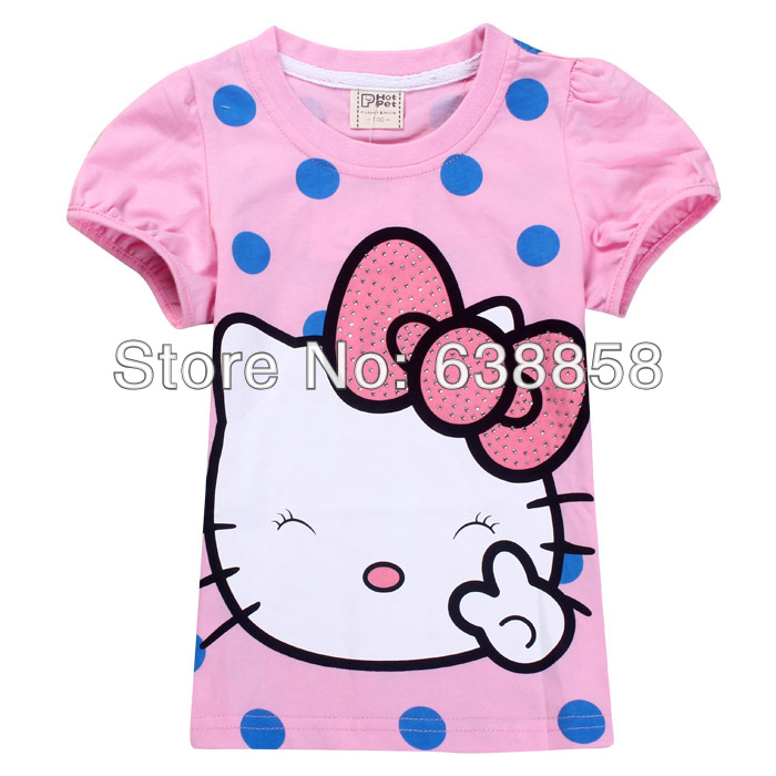 Free shipping new hello kitty kids baby girls tops t shirt hello kitty kids clothes for summer short sleeve t shirt(China (Mainland))