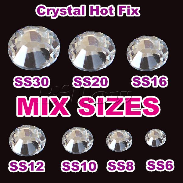 Mixed Sizes! 7 Sizes Crystal Clear Hotfix Stones 1512pcs/Bag DMC Hot Fix Rhinestones SS6 SS8 SS10 SS12 SS16 SS20 SS30(China (Mainland))