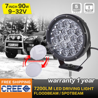 2PCS  90W 7 INCH CREE LED DRIVING LIGHT,BLACK FOR OFF ROAD 4x4 CAMPING, LED WORK LIGHT, ATV UTE,WATERPROOF