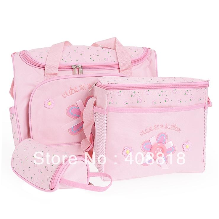 Pink fashion mummy Babies bags 4 Pcs/Set Baby Diaper Nappy Bag Mummy Changing Mat Bottle Holder Handbag Free Shipping(China (Mainland))