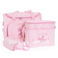 Pink fashion mummy Babies bags 4 Pcs/Set Baby Diaper Nappy Bag Mummy Changing Mat Bottle Holder Handbag Free Shipping