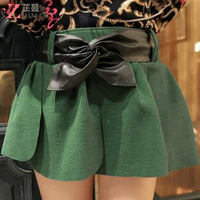 2013 autumn women's autumn and winter high waist black bow woolen slim hip short half-length skirt
