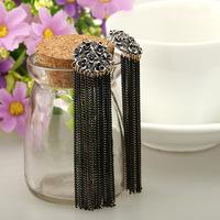 Min.Order $10 (Mix color) Retro Women Long Chunky flower Chain Earrings Fancy Dress Tassel Chain Ear Stud