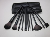 Professional Makeup Brush Set With 12 pcs Makeup Brush Kit Makeup Brushes Free Black Leather Case  Free Shipping