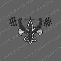 Wholesale 50Pcs/Lot Free Shipping Fleur De Lis Custom Rhinestone Designs Iron On Applique Hotfix Trimming