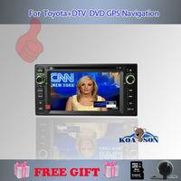 Koason Free Shipping  for TOYOTA  DVD Player  Built in Digital TV DVB-T MPEG2 Car DVD player +camera