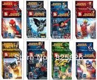 Free Shipping Super Heroes  Avengers Iron Man Hulk Batman Wolverine Thor Building Blocks Sets Minifigure DIY Bricks Toys8pcs/lot