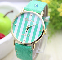 50pcs/lot New Fashion Leather GENEVA Watch For Ladies Women Dress Watch 9 colors