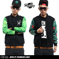 30$=2014 West coast hiphop huf men's clothing outerwear male casual lovers jacket baseball uniform