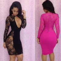 Drop shipping Lace Floral designs Dresses New fashion 2014 bandage dress black bodycon dress sexy women dresses