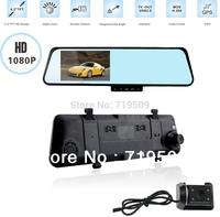 "New arrival 4.3"" dual camera car dvr registrator+slide hidden keyboard+ultra thin slim shell+GPS+night vision+motion detection"