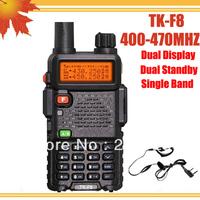 4pcs/lot DHL FREE shipping + Free Earpiece TH-F8 TK F8 walkie-talkie 5W Dual Standby Dual Display TKF8 transmitter radio