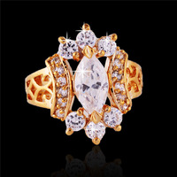 New 2014 18K Rose Gold Plated 6pcs AAA+ Zircons CZ Diamond Flower with Curved Band Finger Ring for Woman (SHIYA Jewelry)