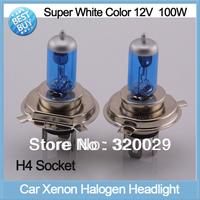 2pcs/lot H4 led super white xenon car headlight bulbs 12V 100W car light halogen lamp auto HID kit 20015C