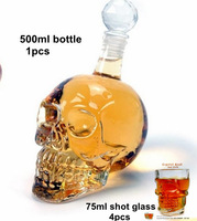 Hot sale Doomed Crystal Skull Shot Glass/Crystal Skull Head Vodka Shot Wine Glass Novelty Cup/1 bottle+ 4 pcs small glass