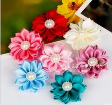 Free Shipping 3.6cm ribbon pearl flower Handmade ribbon corsage hair accessories Material Multicolor(China (Mainland))