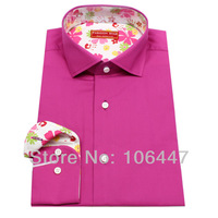 high quality women's  Men's fashion pink rose hermosa with flower collar  dress shirt desinger tailor Shirts+ free Shipping