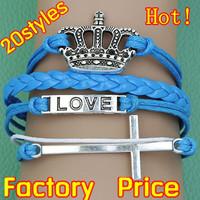 (Minimum order $5,can mix) Antique Cross Love Crown Bracelet Blessing Bracelet Wrap Leather Wax Cords Bracelet